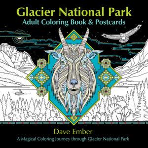 Glacier National Park Adult Coloring Book & Postcards Cover Image