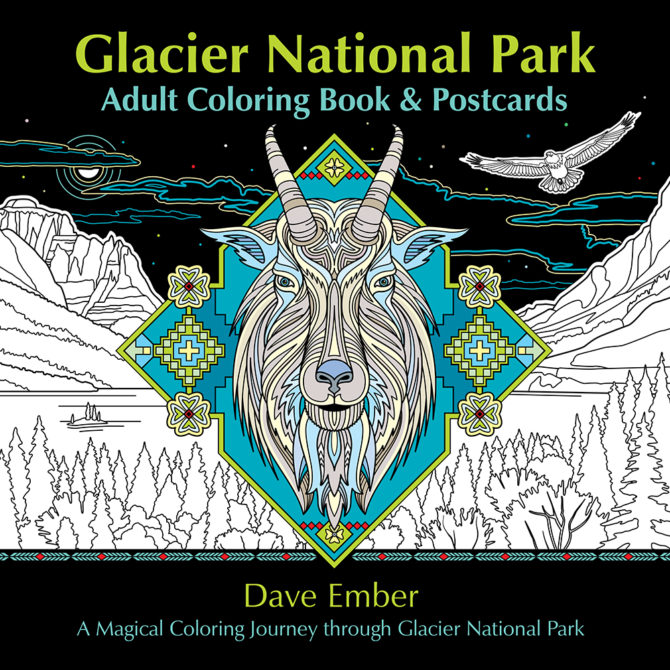 Glacier National Park: Adult Coloring Book & Postcards Cover Image