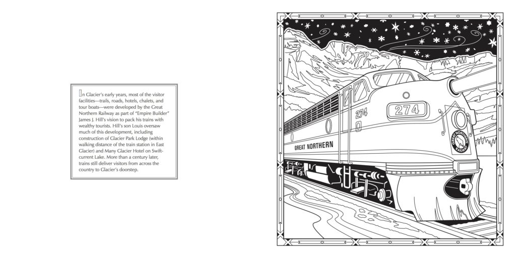 Empire Builder Railway at Glacier National Park - Adult Coloring Book - Farcountry Press