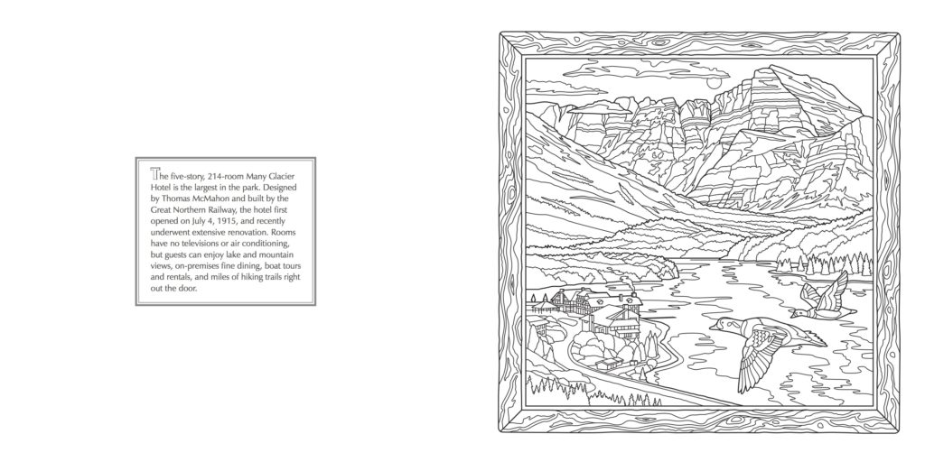 Many Glacier - Glacier National Park Adult Coloring Book - Farcountry Press