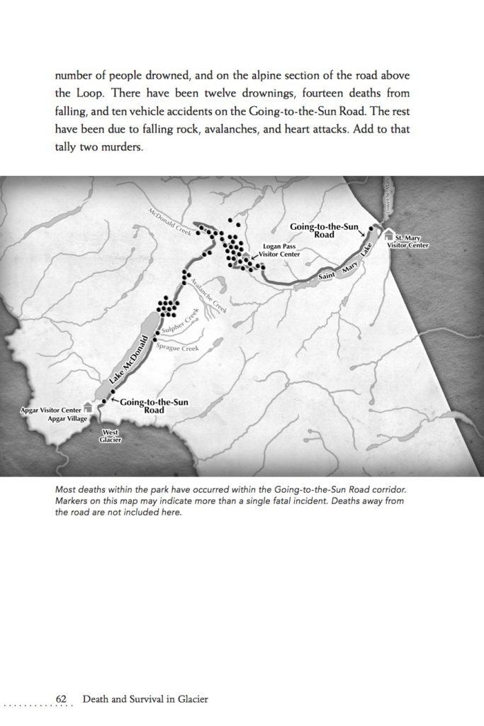 Map of deaths along the Going-to-the-Sun Road Glacier National Park