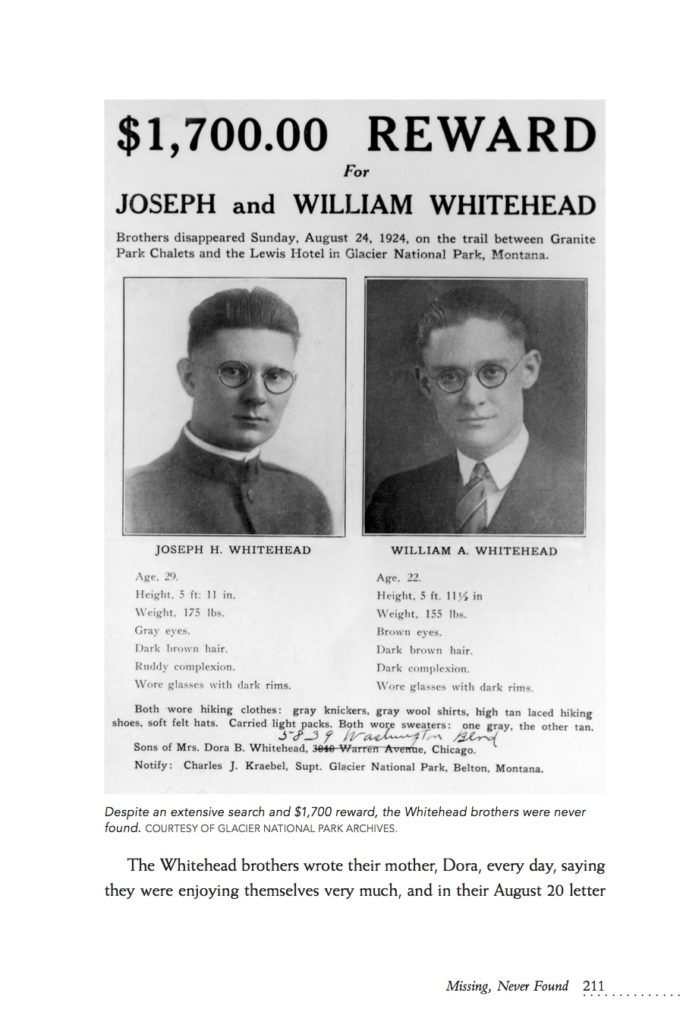 The Whitehead Brothers Reward Poster featured in Death and Survival in Glacier National Park from Farcountry Press