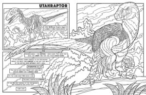 Dinosaur coloring book dinosaurs live features accurate for Utahraptor coloring page