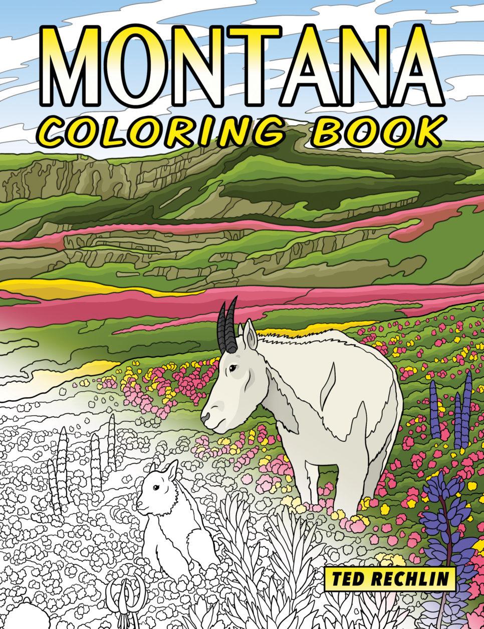 Montana Coloring Book Cover - Mountain Goats at Glacier National Park